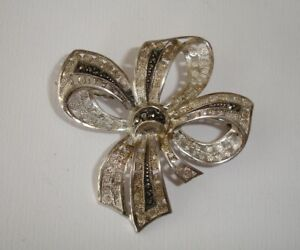 ANTIQUE 935 STERLING SILVER REAL MARCASITE ORNATE FILIGREE BOW DESIGN PIN BROOCH