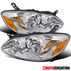 For 2003-2008 Toyota Corolla CE LE Sedan Clear Headlights Lamps Pair 04 05 06 07