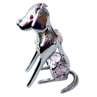 Crystocraft Dog Crystal Pet Ornament With Swarovski Elements Boxed Pink Silver