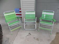 Vintage 3 Sunbeam Green & White Tubing Aluminum Folding Lawn 2 Chairs 1 Rocking