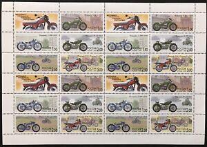RUSSIA MOTORCYCLE STAMPS SHEET 24V 1999 MNH MOTORBIKE SC #6533 TRANSPORTATION