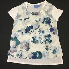 Vera Wang Petite S Blouse Top Women's White And Blue Floral Short Sleeves NWT
