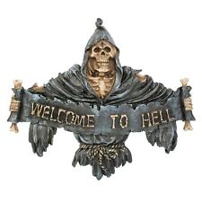 Welcome to Hell Sign 24cm Long Wall Plaque Reaper Gothic Scroll Nemesis Now
