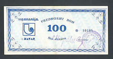 YUGOSLAVIA  100 Dinara ND1980th  AU  PANONIJA - BAZAR, NOVI SAD  Rare local note