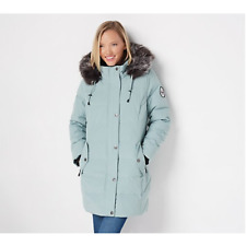 Arctic Expedition Quilted Down Coat with Removable Hood Wintermint