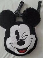 Disney Mickey Mouse Head Plush Bag Purse Crossbody Shoulder Wristlet New