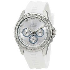 Invicta Angel Multi-Function Silver Dial White Polyurethane Ladies Watch 21899