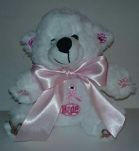 6 Inch White Breast Cancer Awareness Teddy Bear