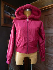 GUESS USA Womens Cranberry Pink Reversible Hoodie Jacket Faux Fur Trim Medium
