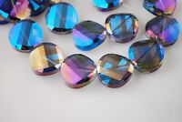 10pcs 18mm Twist Discoid Faceted Crystal Glass Loose Spacer Beads Blue Colorized