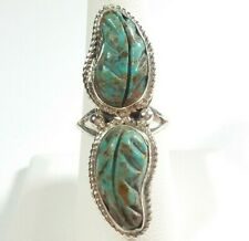 NAVAJO RITA DAWES STERLING SILVER DOUBLE CARVED FEATHER TURQUOISE SIZE 8 RING