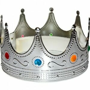 Silver Crown Prince or Queen Costume Jeweled Royal King Hat Halloween NEW