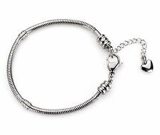 7½ Inch Stainless Steel Charm Bracelet w/ 1½ Inch Extender Chain And Heart Drop