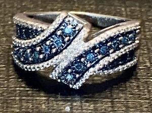 ZALES BLUE DIAMOND MICRO PAVE STATEMENT RING SIZE 8 (1.25 CTW)