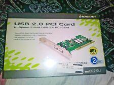 IOGEAR HI-SPEED 2 PORT USB 2.0 PCI CARD FOR MAC & PC 40x FASTER BRAND NEW