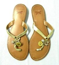 Talbots NEW $89 Womens Size 6 M Desert Gold Charms Leather Thong Sandals Shoes