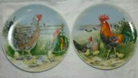 Pair Vintage Hand painted Plate Rooster Hen &Chicks Made in Japan Blue sticker
