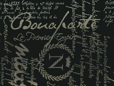 Designer Upholstery Fabric Heavy Wt. Woven Textured Script - Black / Khaki