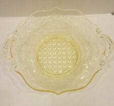 Yellow Depression Glass Etched Handled Bowl Dish