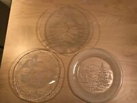 Lot of 3 Round Glass Christmas Serving Platters ~ Angels Trumpets Christmas Tree