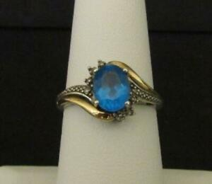 BLUE TOPAZ RING Sterling Silver with Solid 10K Gold Trim (Ladies / Size 6¾)