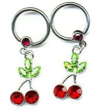 Bead Body Jewelry Pair 14g pair Body Accentz® Nipple Ring Cherry Captive