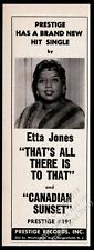 1961 Etta Jones photo That's All There Is To That song release trade print ad