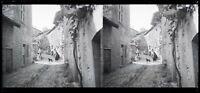 Kleinbahn IN Ein Dorf Frankreich c1930 Foto Negative Platte De Verre Vintage