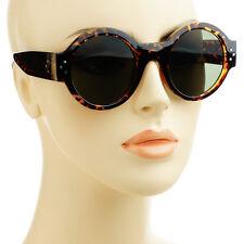 Womens Fashion Designer Retro Vintage Style Round Sunglasses Tortoise Green Lens