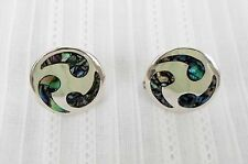 Silver Abalone Inlay Earrings Signed 925 Taxco Handmade Sterling