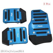3Pcs Blue Sport Car Manual Series Non-slip Brake Clutch Foot Pedal Treadle Cover