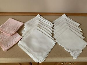 Vintage Lot Of 17 Square Dinner Napkins Pink White Lace Scalloped Embroidery