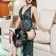 Sexy Women Lingerie Peacock Classical Embroidery Cheongsam Temptation Nightdress