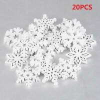 20Pcs Christmas Snowflakes Wooden Pendant Xmas Tree Ornament Hanging Decor