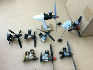 Eight Vintage .049 Control Line Model Airplane Engines COX & ?
