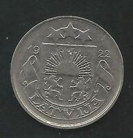 LATVIA,  1922,  20 SANTIMU,  COPPER-NICKEL,  ALMOST UNCIRCULATED,  KM#5 (2)