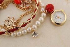 Exclusive Pearl Rhinestone Hand Chain Bracelet Ladies Quartz Wrist Watch