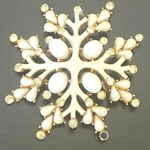 Vintage Trifari Brooch White Enamel Cabochon Cross Snowflake Rhinestones Pin SM
