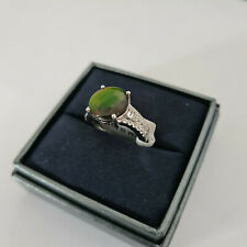 Stunning AA Canadian Ammolite & White Topaz ring Platinum over Sterling silver M