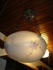 Antique Satin Dome Shade Light Fixture, Reverse Painted   9247