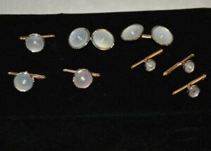 Vintage Larter and Sons 10K Gold, Mother of Pearl, and Pearl Tuxedo Cufflinks