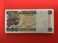 New listing Guinea 100 francs 1998 #35a Bundle 100 pcs Uncirculated