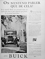 PUBLICITÉ DE PRESSE 1927 AUTOMOBILES BUICK ON N'ENTEND PARLER QUE DE CELA
