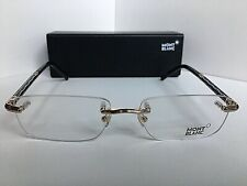 New MONTBLANC MB 432 028 56[]17 140 Gold Black Rx Rimless Men's Eyeglasses Italy