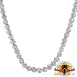 White Gold Tone Solitaire Flower Cluster Tennis Men's & Ladies Custom 7 mm Chain