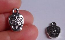 10 Sugar Skull Charms Pendentif Perles Tibétain Argent Antique Wholesale UK R80