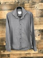 Hugh & Crye Men's Grey Dot Average/Athletic Fit Long Sleeve Button Up Shirt Sz L
