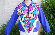 Vtg. 1980s Purple Nylon Jacket w/ Hot Dayglo Geometric Design Zipper Windbreaker