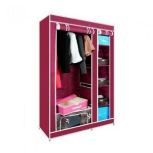 Portable Storage Organizer Clothes Rack With Shelves (Pink)