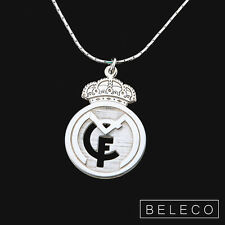 Real Madrid Necklace Football Fans Club 925 Sterling Silver Pendant soccer Charm